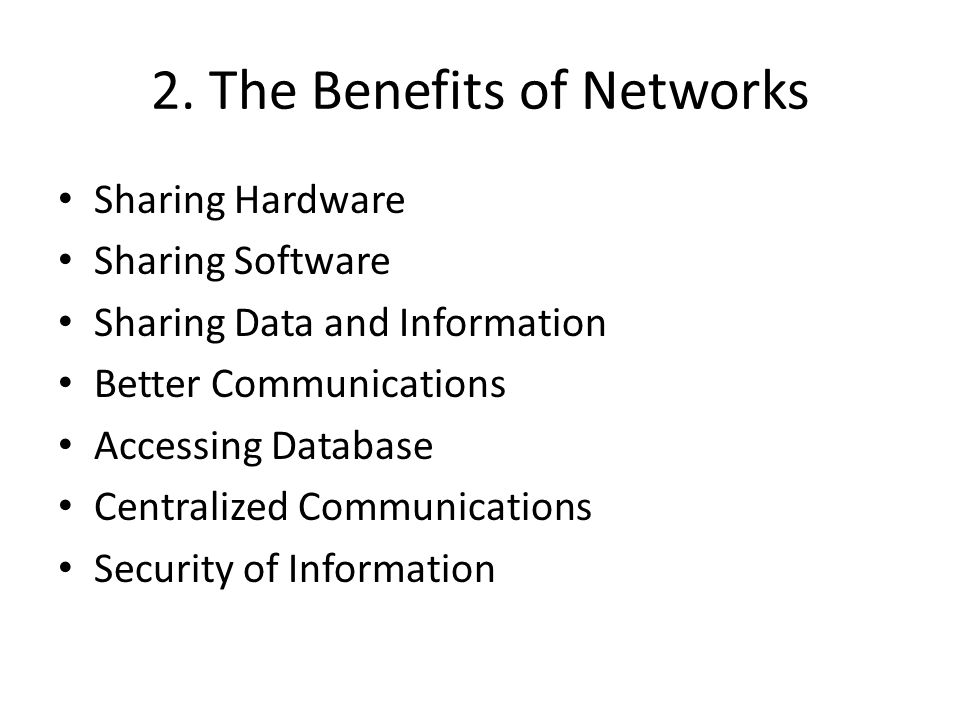 2. The Benefits of Networks