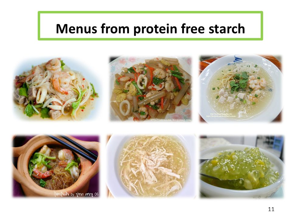 Menus from protein free starch