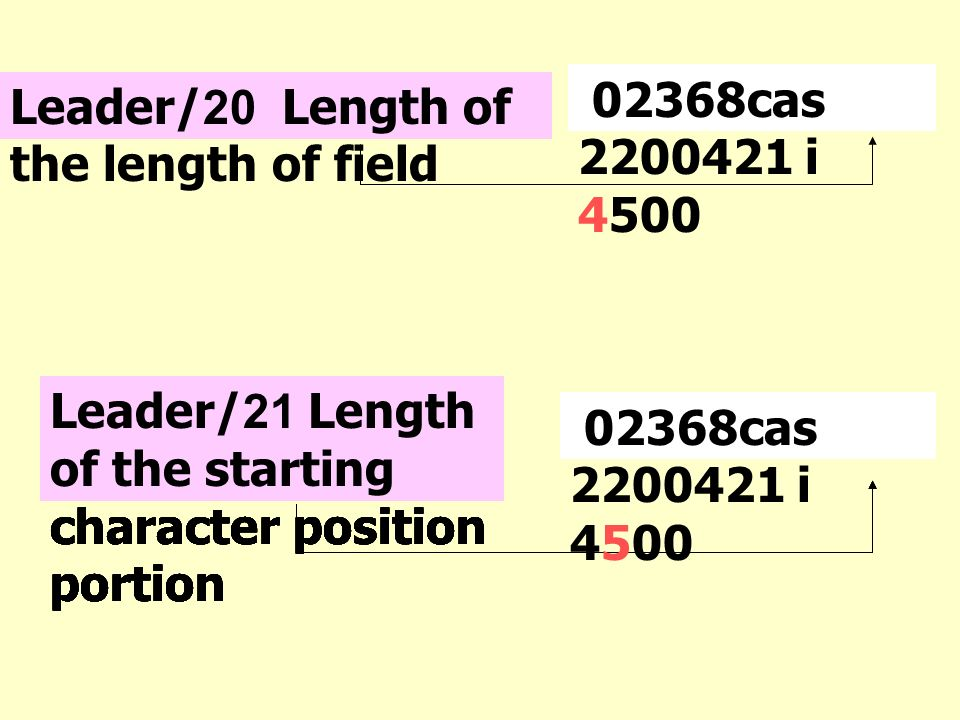 02368cas 2200421 i 4500 Leader/20 Length of the length of field. Leader/21 Length of the starting character position portion.
